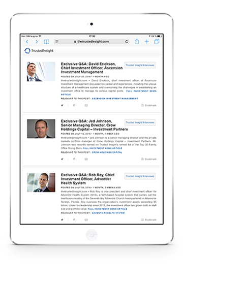 Inspire and be inspired - Interviews with top institutional investors on tablet