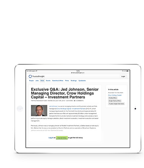 Inspire and be inspired - Interviews with top institutional investors on tablet - horizontal